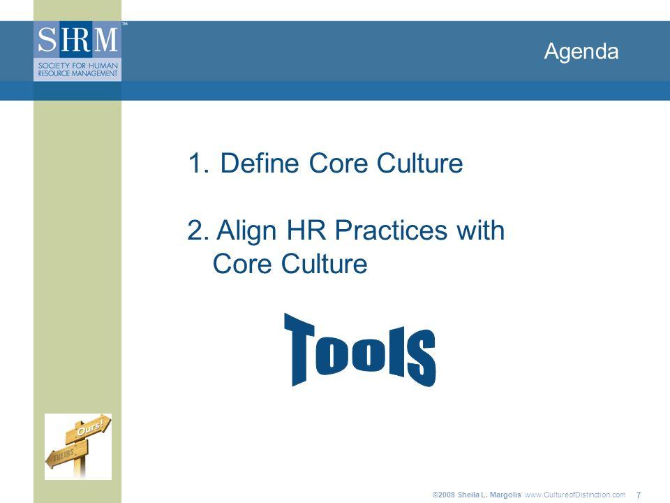 ©2008 Sheila L. Margolis www.CultureofDistinction.com 7 Agenda 1. Define Core Culture 2. Align HR Practices with Core Culture