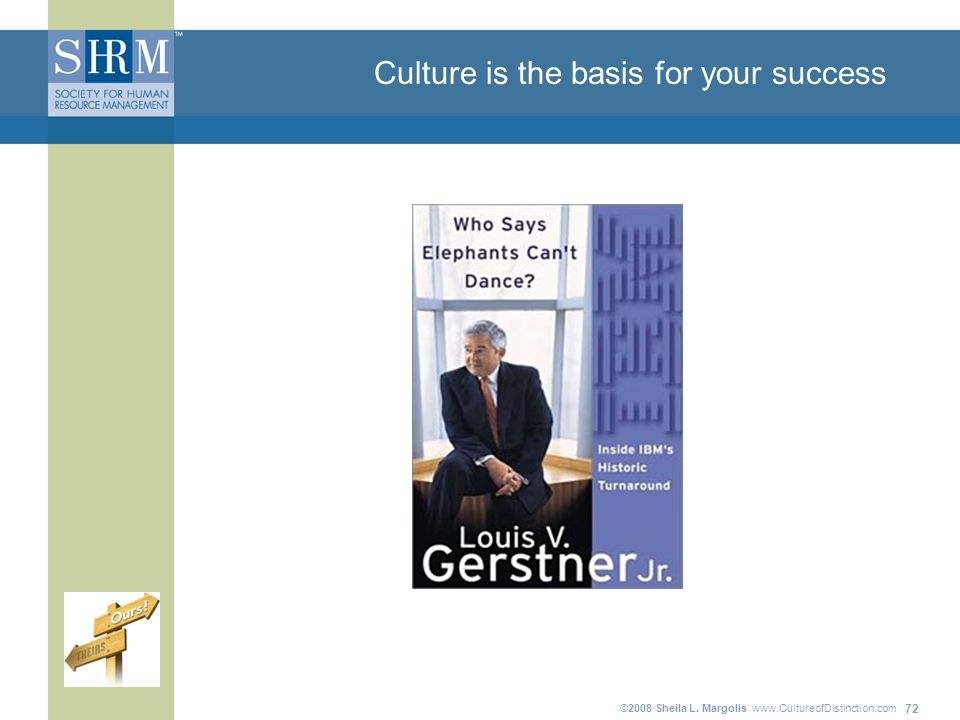 ©2008 Sheila L. Margolis   72 Culture is the basis for your success
