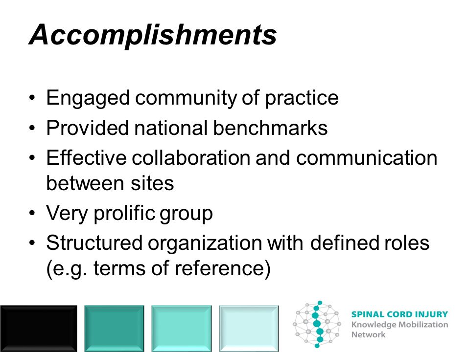 Accomplishments Engaged community of practice Provided national benchmarks Effective collaboration and communication between sites Very prolific group
