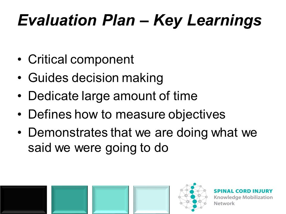 Evaluation Plan – Key Learnings Critical component Guides decision making Dedicate large amount of time Defines how to measure objectives Demonstrates