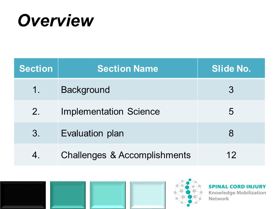 Overview SectionSection NameSlide No. 1.Background3 2.Implementation Science5 3.Evaluation plan8 4.Challenges & Accomplishments12