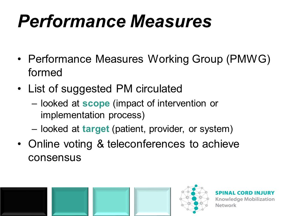 Performance Measures Performance Measures Working Group (PMWG) formed List of suggested PM circulated –looked at scope (impact of intervention or impl