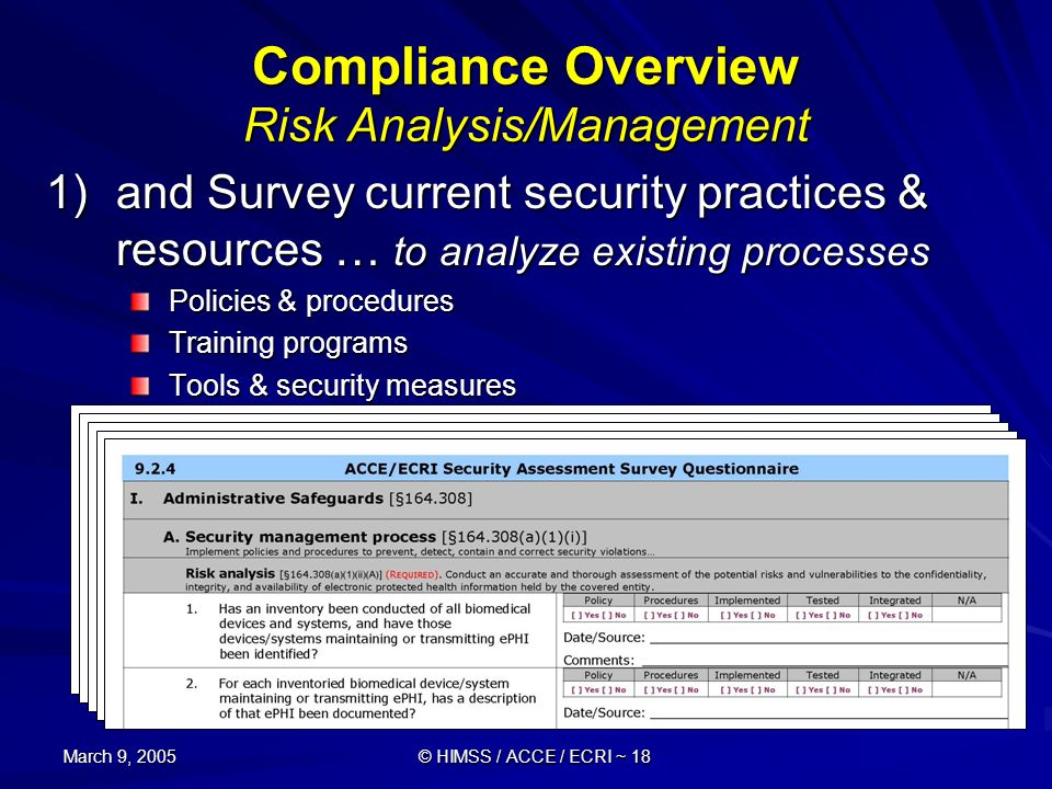 March 9, 2005 © HIMSS / ACCE / ECRI ~ 18 Compliance Overview Risk Analysis/Management 1)and Survey current security practices & resources … to analyze