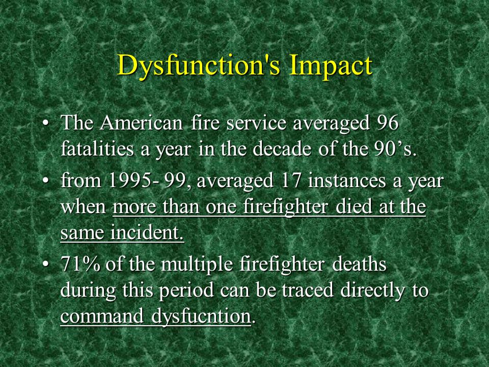 Dysfunction s Impact The American fire service averaged 96 fatalities a year in the decade of the 90s.The American fire service averaged 96 fatalities a year in the decade of the 90s.