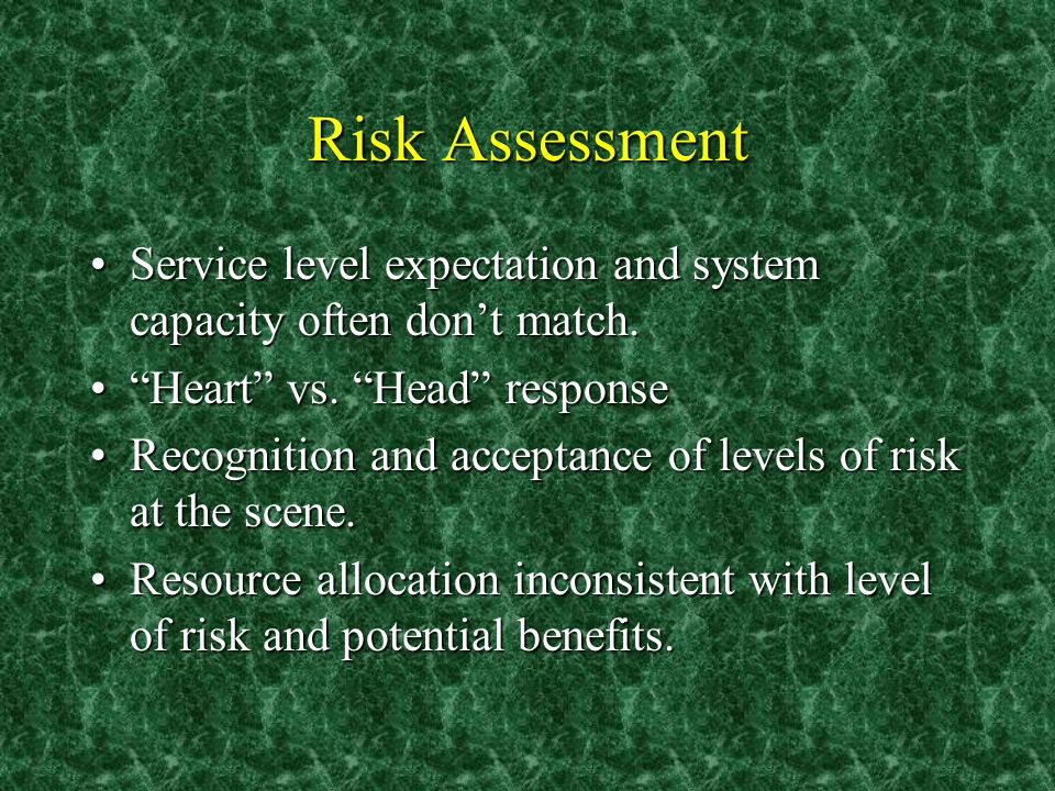 Risk Assessment Service level expectation and system capacity often dont match.Service level expectation and system capacity often dont match.