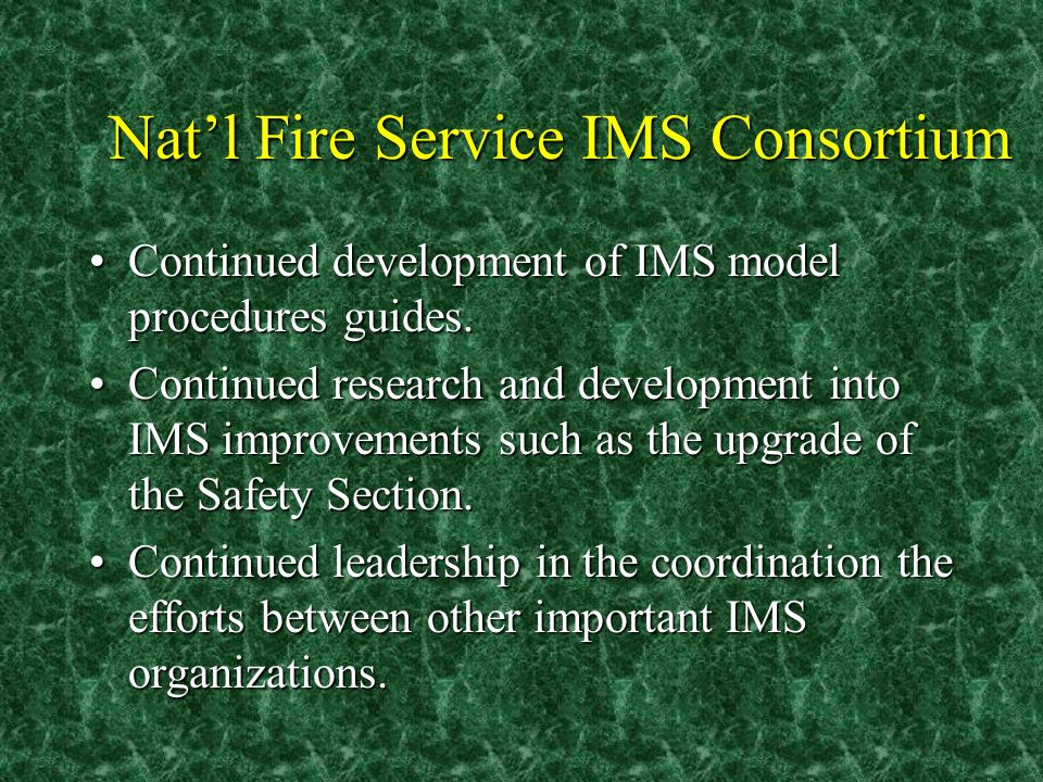 Natl Fire Service IMS Consortium Continued development of IMS model procedures guides.Continued development of IMS model procedures guides. Continued