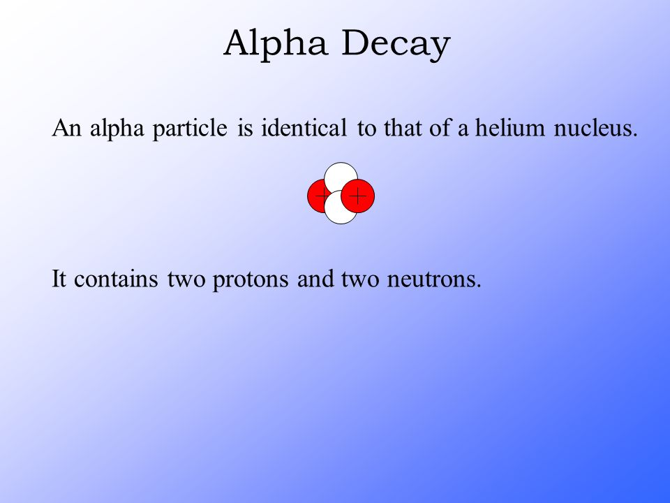 An alpha particle is identical to that of a helium nucleus. It contains two protons and two neutrons. Alpha Decay