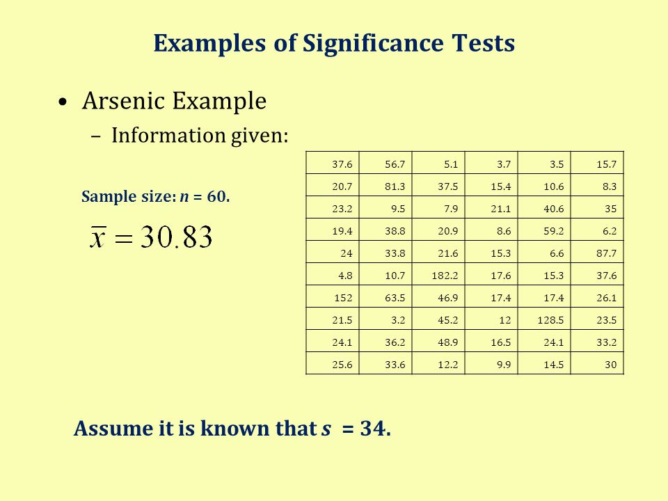 Examples of Significance Tests Arsenic Example –Information given: 37.656.75.13.73.515.7 20.781.337.515.410.68.3 23.29.57.921.140.635 19.438.820.98.65