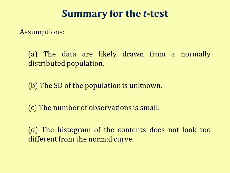 Summary for the t-test Assumptions: (a) The data are likely drawn from a normally distributed population. (b) The SD of the population is unknown. (c)