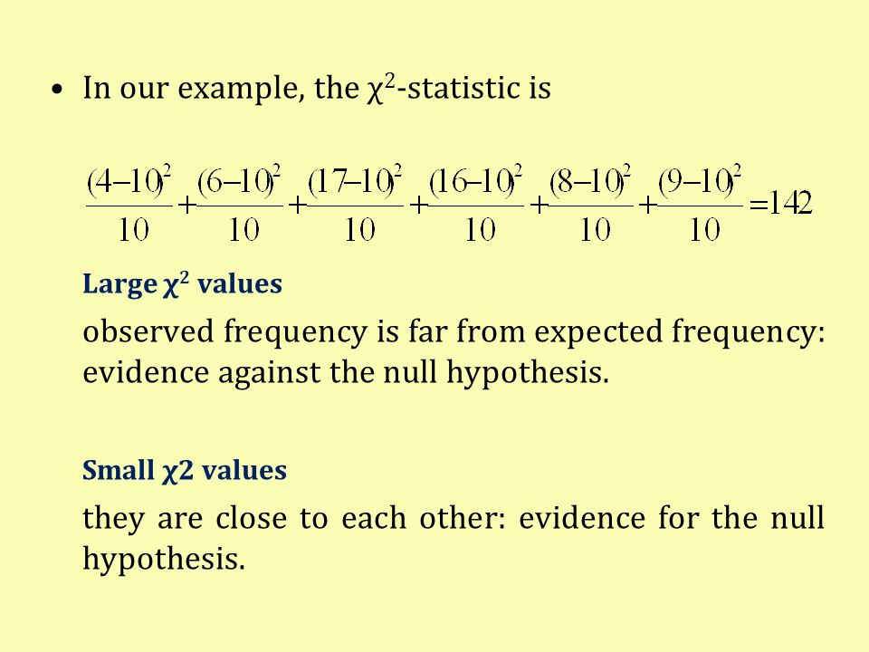 In our example, the χ 2 -statistic is Large χ 2 values observed frequency is far from expected frequency: evidence against the null hypothesis. Small