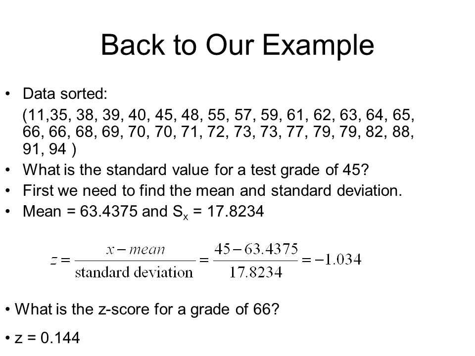 Back to Our Example Data sorted: (11,35, 38, 39, 40, 45, 48, 55, 57, 59, 61, 62, 63, 64, 65, 66, 66, 68, 69, 70, 70, 71, 72, 73, 73, 77, 79, 79, 82, 8