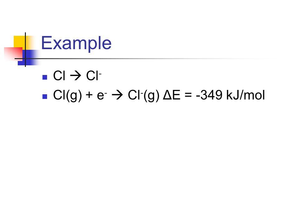 Example Cl Cl - Cl(g) + e - Cl - (g) ΔE = -349 kJ/mol