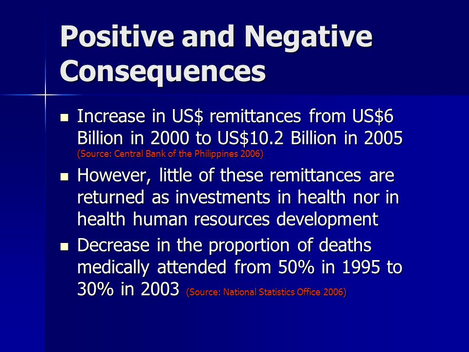 Positive and Negative Consequences Increase in US$ remittances from US$6 Billion in 2000 to US$10.2 Billion in 2005 (Source: Central Bank of the Phili