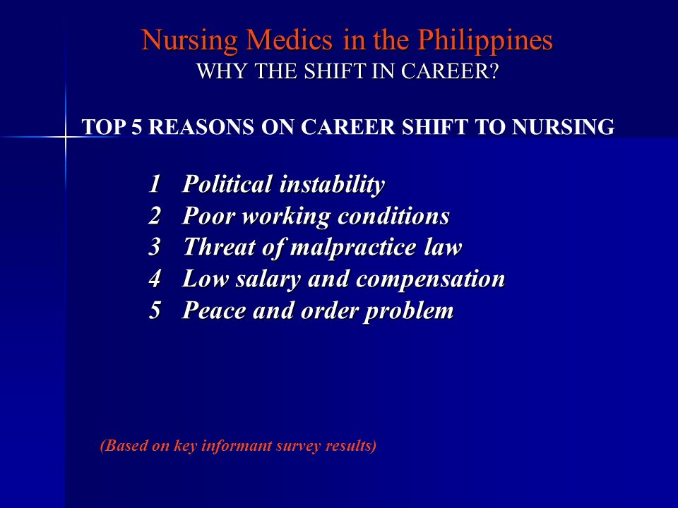 Nursing Medics in the Philippines WHY THE SHIFT IN CAREER? TOP 5 REASONS ON CAREER SHIFT TO NURSING 1Political instability 2Poor working conditions 3T
