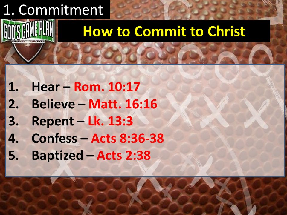 1. Commitment 1.Hear – Rom. 10:17 2.Believe – Matt. 16:16 3.Repent – Lk. 13:3 4.Confess – Acts 8:36-38 5.Baptized – Acts 2:38 How to Commit to Christ