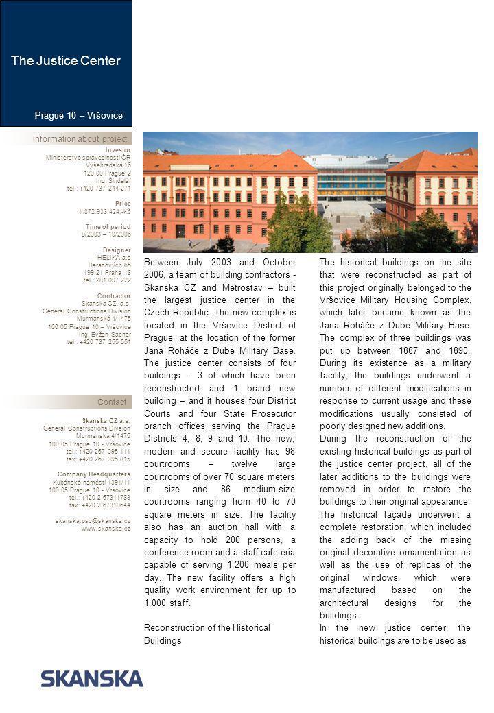 Information about projectContact Skanska CZ a.s.