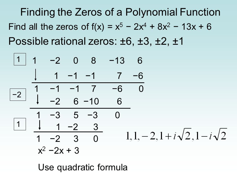 Finding the Zeros of a Polynomial Function Find all the zeros of f(x) = x 5 2x 4 + 8x 2 13x + 6 Possible rational zeros: ±6, ±3, ±2, ±1 1 2 0 8 13 6 1