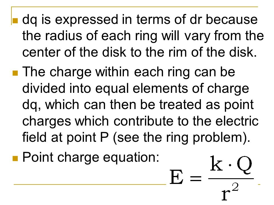 dq is expressed in terms of dr because the radius of each ring will vary from the center of the disk to the rim of the disk. The charge within each ri