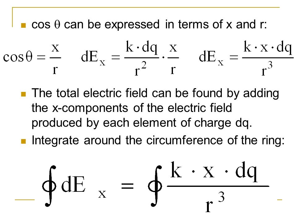 cos can be expressed in terms of x and r: The total electric field can be found by adding the x-components of the electric field produced by each elem