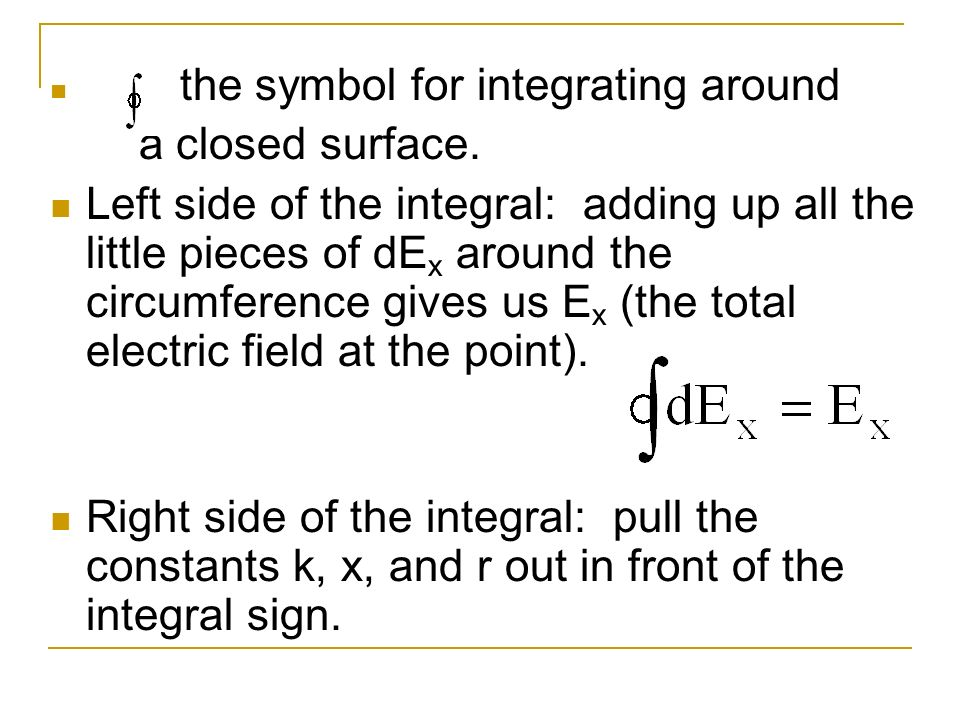 is the symbol for integrating around a closed surface. Left side of the integral: adding up all the little pieces of dE x around the circumference giv