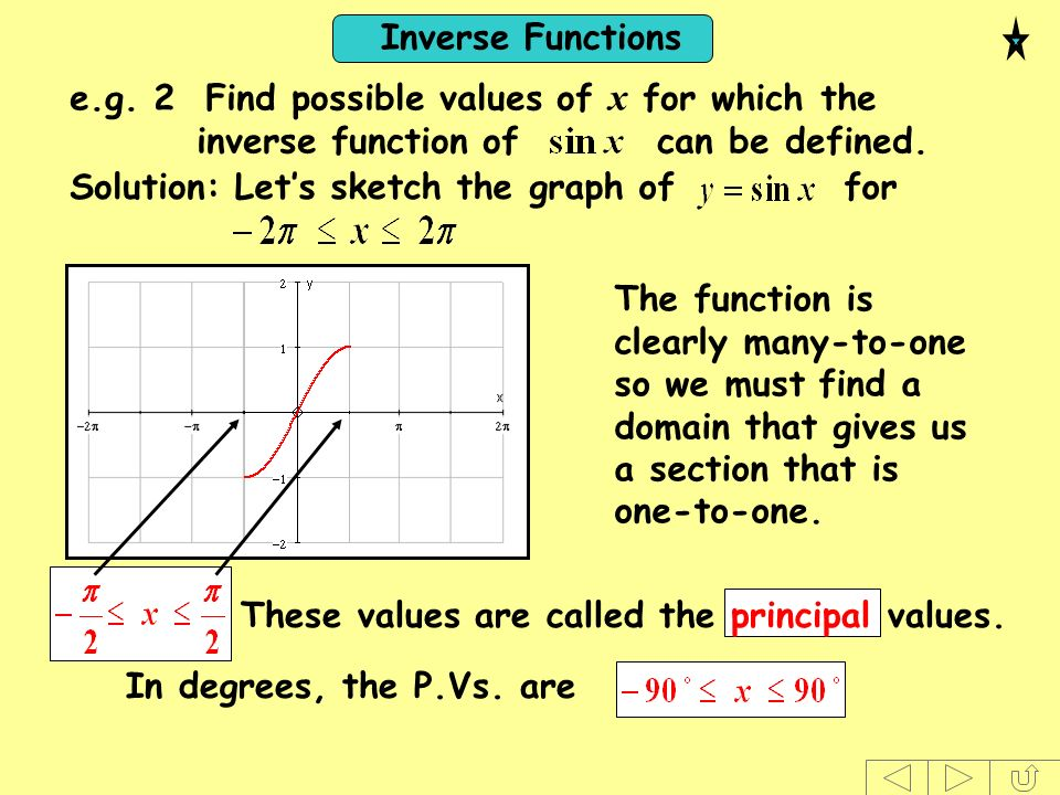 Inverse Functions The function is clearly many-to-one so we must find a domain that gives us a section that is one-to-one. These values are called the