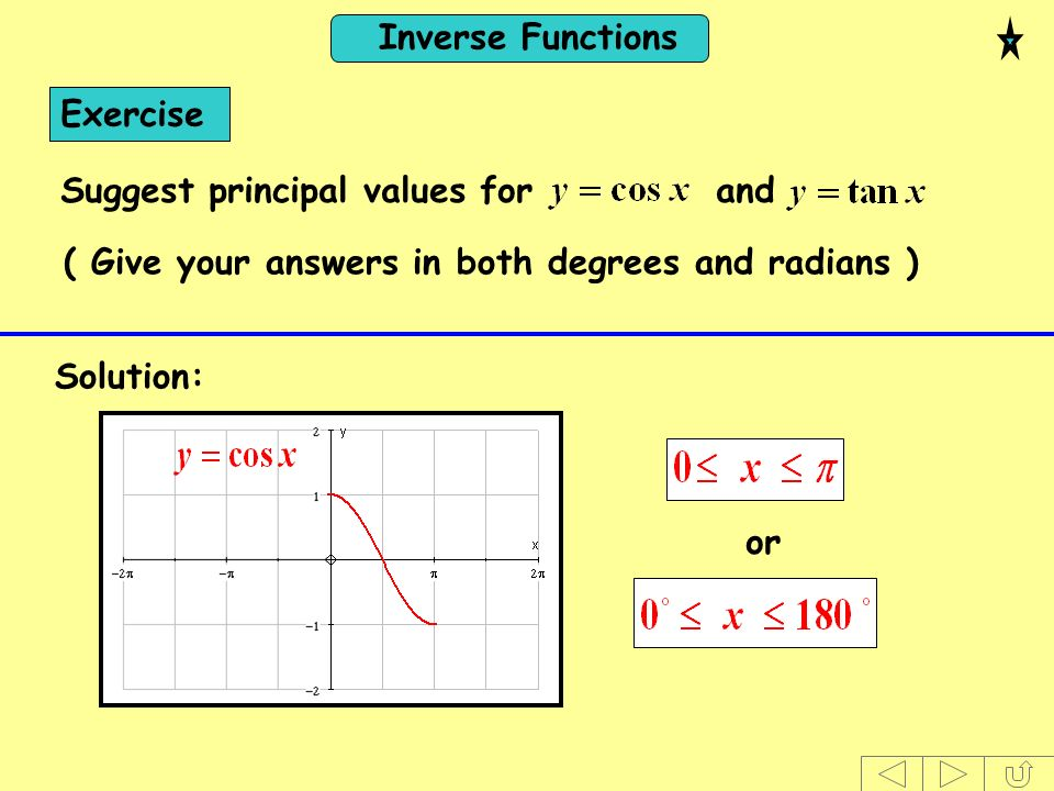 Inverse Functions ( Give your answers in both degrees and radians ) Exercise Suggest principal values for and Solution: or
