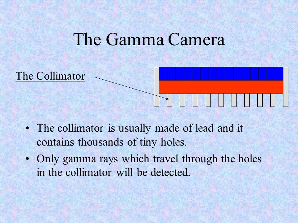 The Gamma Camera The collimator is usually made of lead and it contains thousands of tiny holes. Only gamma rays which travel through the holes in the