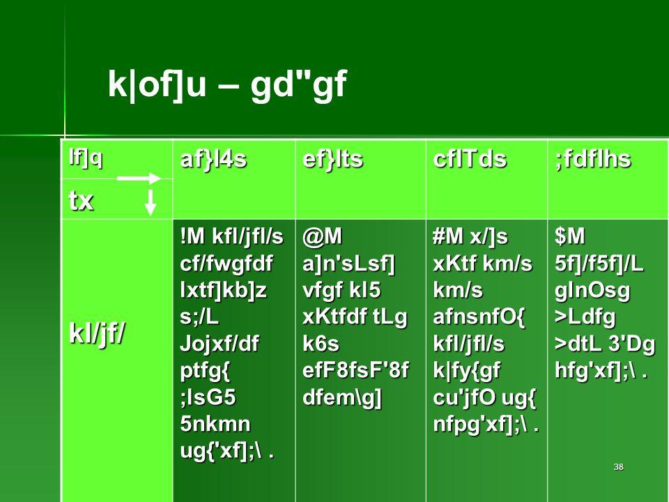 38 If]qaf}l4sef}ltscflTds;fdflhs tx kl/jf/ !M kfl/jfl/s cf/fwgfdf lxtf]kb]z s;/L Jojxf/df ptfg{ ;lsG5 5nkmn ug{ xf];\.