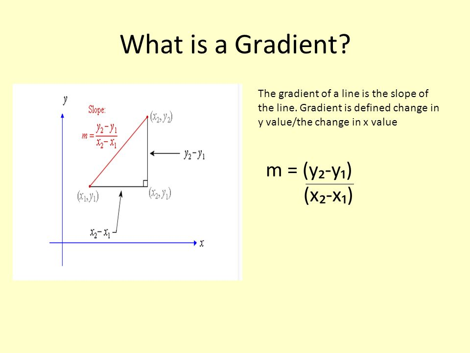 What is a Gradient? The gradient of a line is the slope of the line. Gradient is defined change in y value/the change in x value m = (y-y) (x-x)