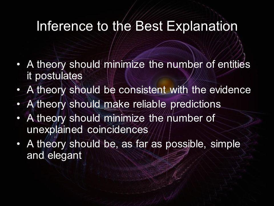 Inference to the Best Explanation A theory should minimize the number of entities it postulates A theory should be consistent with the evidence A theo