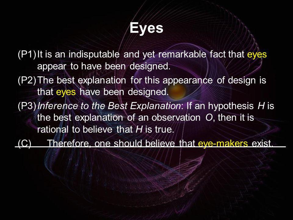 Eyes (P1)It is an indisputable and yet remarkable fact that eyes appear to have been designed. (P2)The best explanation for this appearance of design