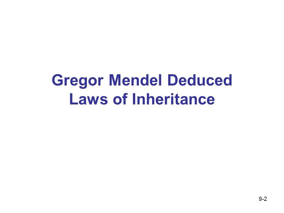 Gregor Mendel Deduced Laws of Inheritance 9-2