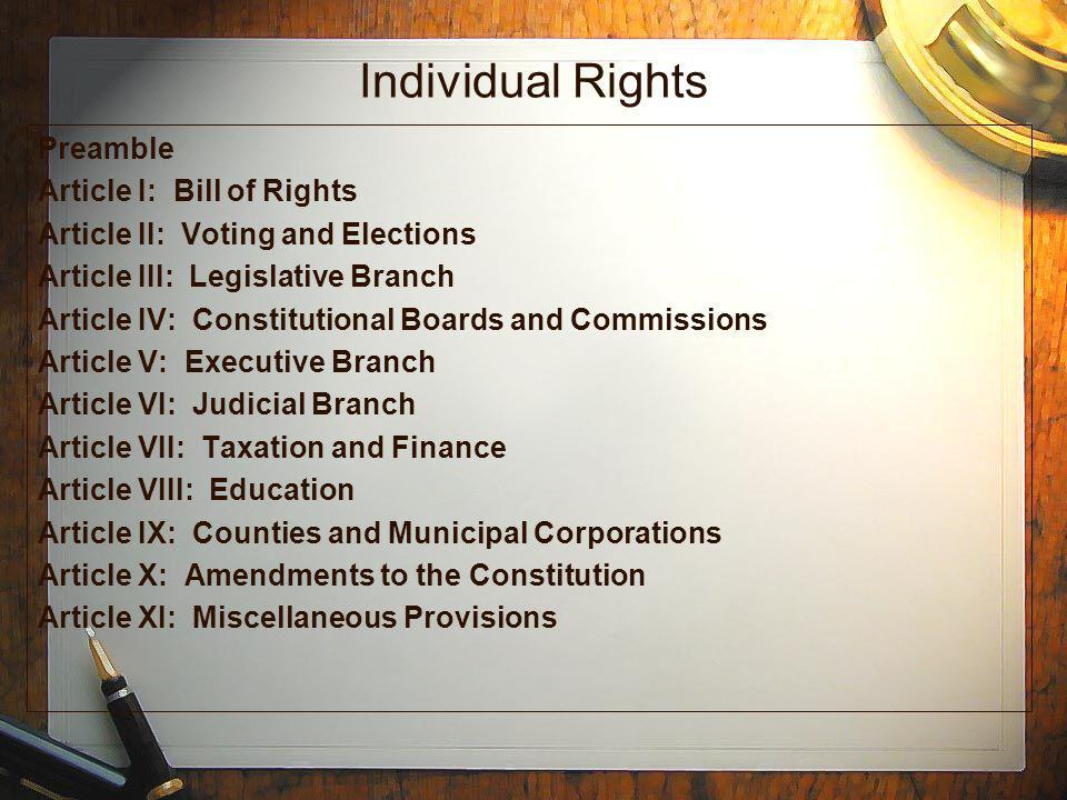 Individual Rights Preamble Article I: Bill of Rights Article II: Voting and Elections Article III: Legislative Branch Article IV: Constitutional Board