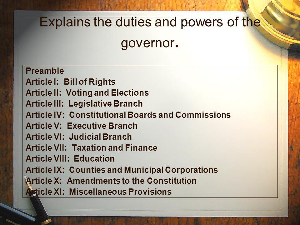Outlines Georgias unified court system Preamble Article I: Bill of Rights Article II: Voting and Elections Article III: Legislative Branch Article IV: Constitutional Boards and Commissions Article V: Executive Branch Article VI: Judicial Branch Article VII: Taxation and Finance Article VIII: Education Article IX: Counties and Municipal Corporations Article X: Amendments to the Constitution Article XI: Miscellaneous Provisions