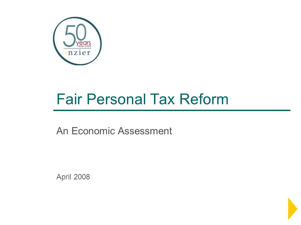 Fair Personal Tax Reform An Economic Assessment April 2008
