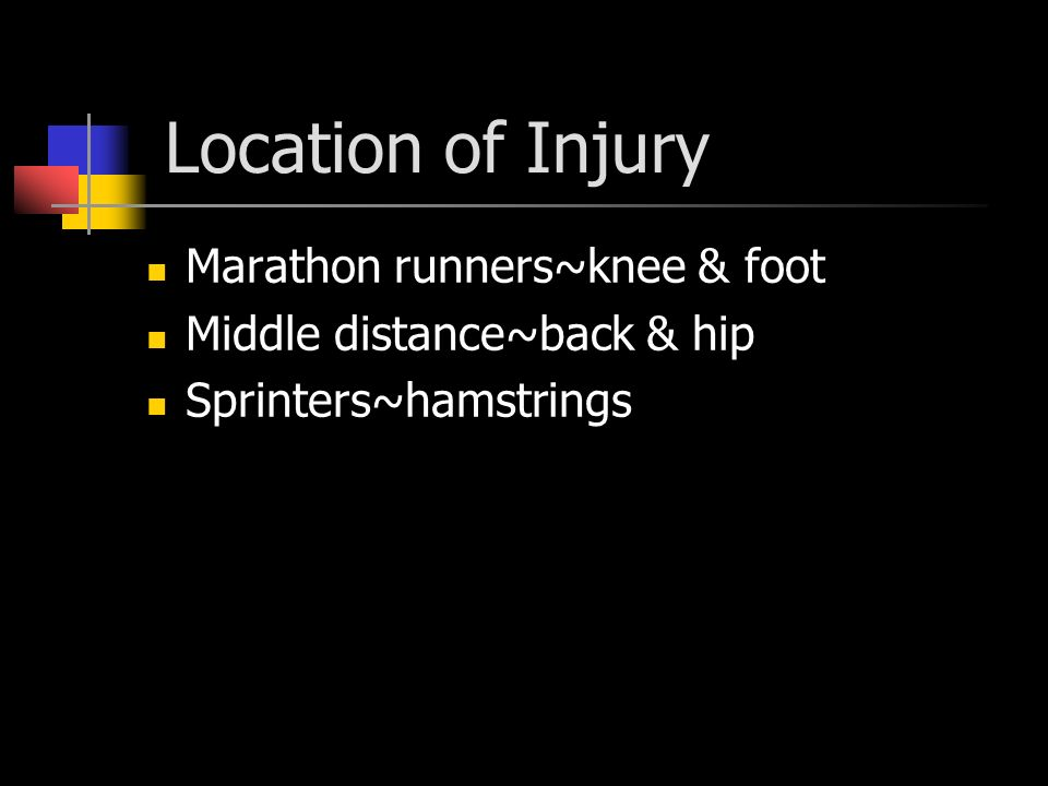 Location of Injury Marathon runners~knee & foot Middle distance~back & hip Sprinters~hamstrings