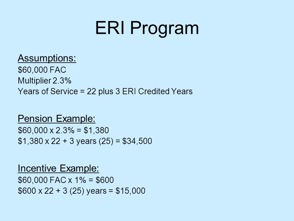 ERI Program Assumptions: $60,000 FAC Multiplier 2.3% Years of Service = 22 plus 3 ERI Credited Years Pension Example: $60,000 x 2.3% = $1,380 $1,380 x 22 + 3 years (25) = $34,500 Incentive Example: $60,000 FAC x 1% = $600 $600 x 22 + 3 (25) years = $15,000