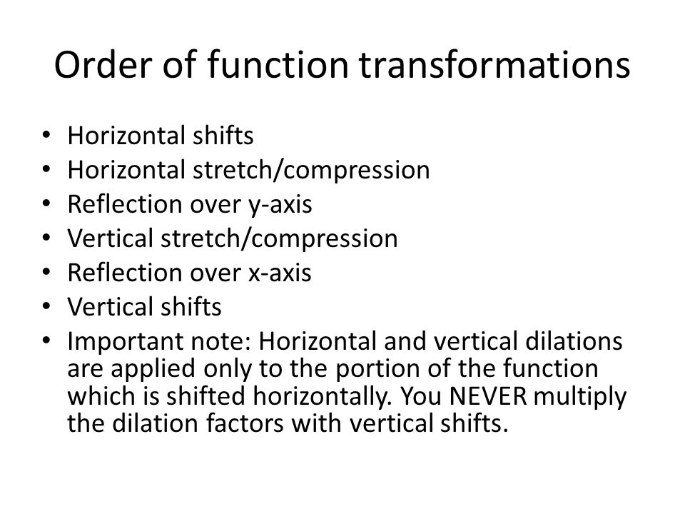 Order of function transformations Horizontal shifts Horizontal stretch/compression Reflection over y-axis Vertical stretch/compression Reflection over