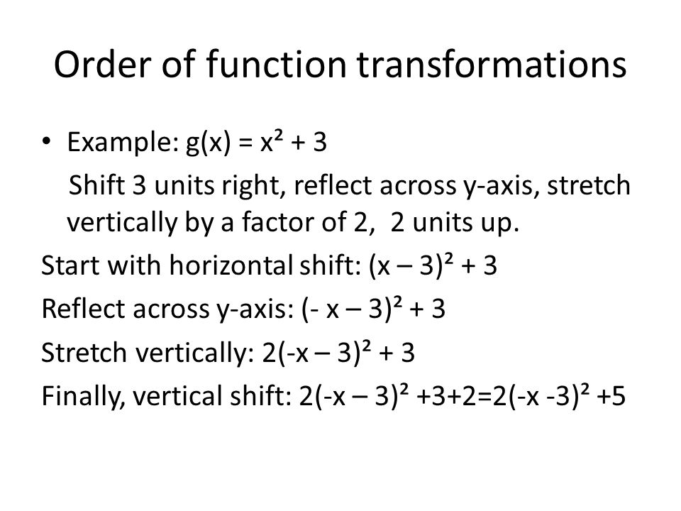 Order of function transformations Example: g(x) = x² + 3 Shift 3 units right, reflect across y-axis, stretch vertically by a factor of 2, 2 units up.