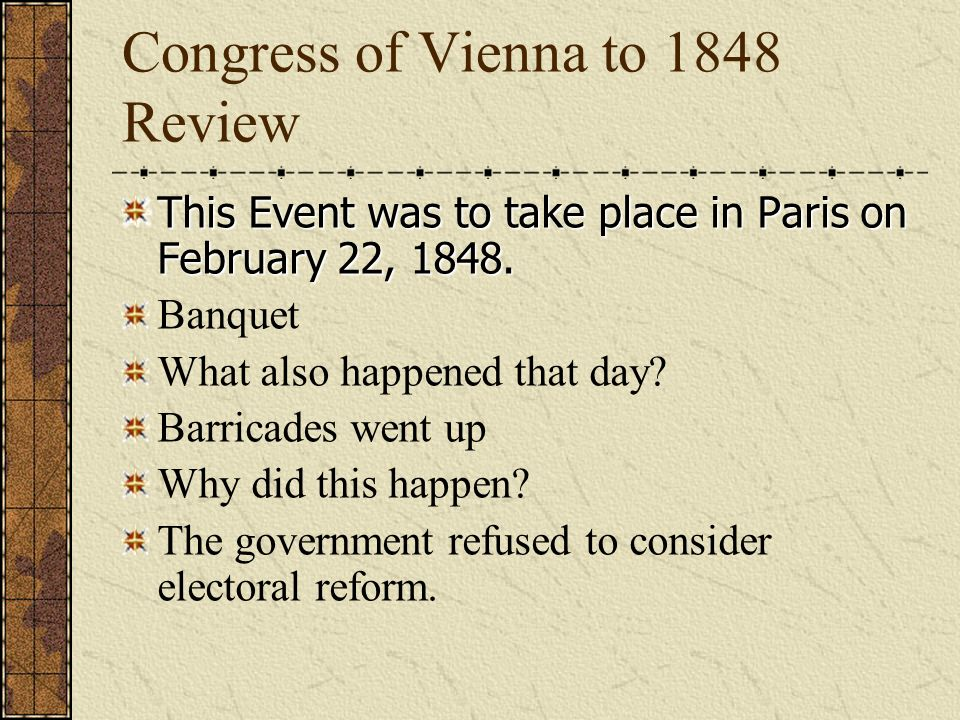 Congress of Vienna to 1848 Review Karl Marx co-authored Communist Manifesto with him: Engels