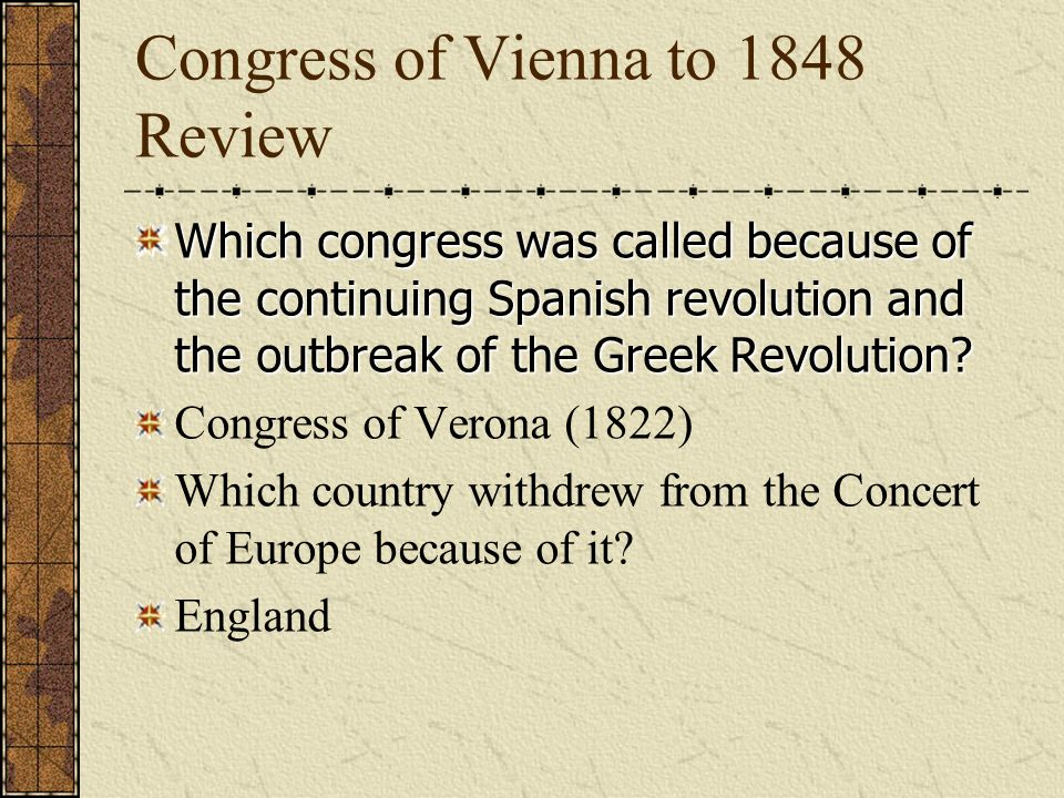 Congress of Vienna to 1848 Review Who replaced Castlereagh.