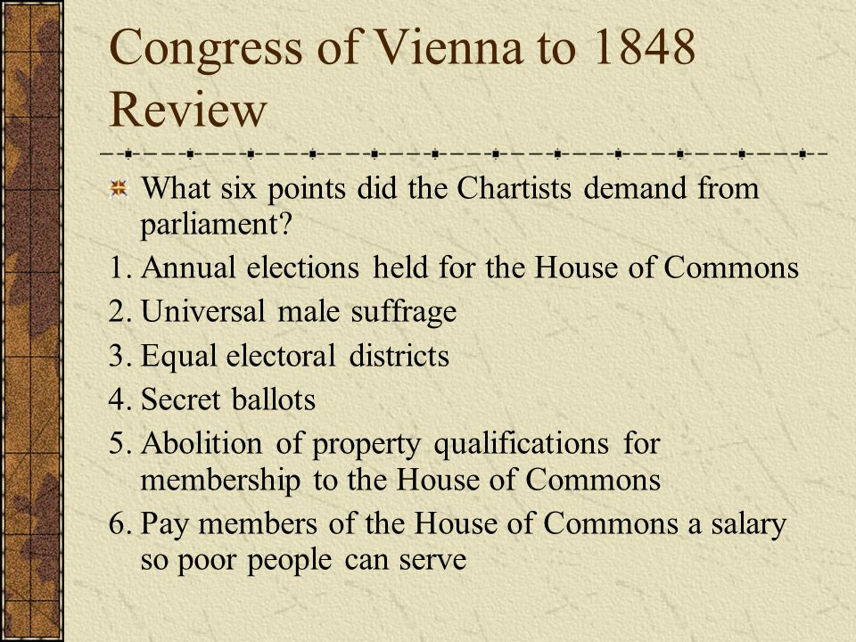 Congress of Vienna to 1848 Review Was the Chartist movement successful? No.