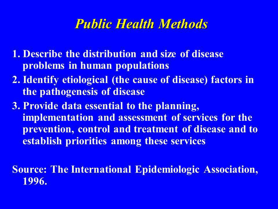 Goals of Public Health To eliminate or reduce health problems and their consequences To prevent their occurrence or recurrence To promote duration and quality of life