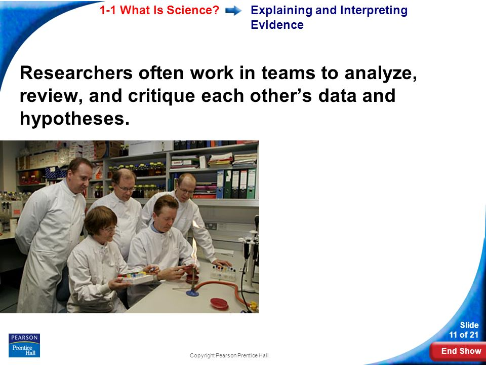 End Show 1-1 What Is Science? Slide 11 of 21 Copyright Pearson Prentice Hall Explaining and Interpreting Evidence Researchers often work in teams to a