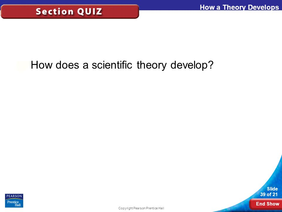 End Show Slide 39 of 21 Copyright Pearson Prentice Hall How a Theory Develops How does a scientific theory develop?