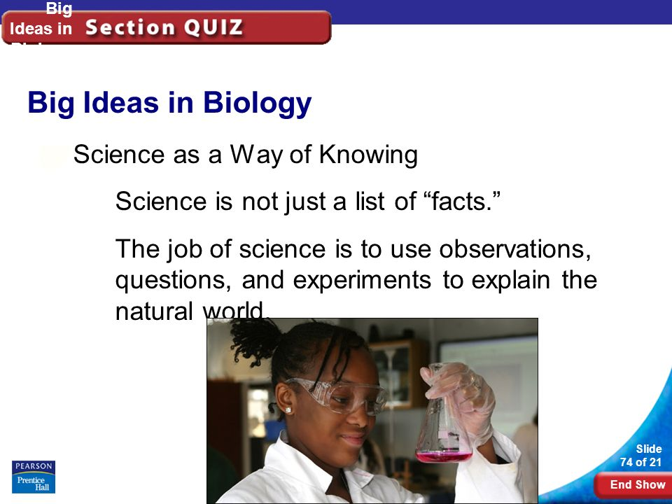 End Show Slide 74 of 21 Copyright Pearson Prentice Hall Big Ideas in Biology Science as a Way of Knowing Science is not just a list of facts. The job