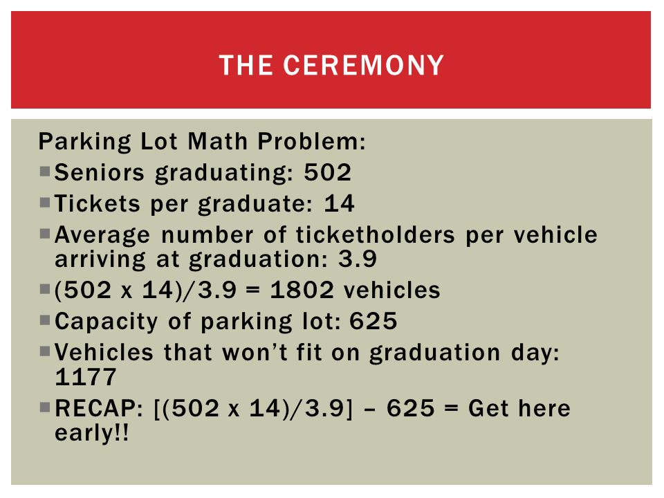 Parking Lot Math Problem: Seniors graduating: 502 Tickets per graduate: 14 Average number of ticketholders per vehicle arriving at graduation: 3.9 (502 x 14)/3.9 = 1802 vehicles Capacity of parking lot: 625 Vehicles that wont fit on graduation day: 1177 RECAP: [(502 x 14)/3.9] – 625 = Get here early!.