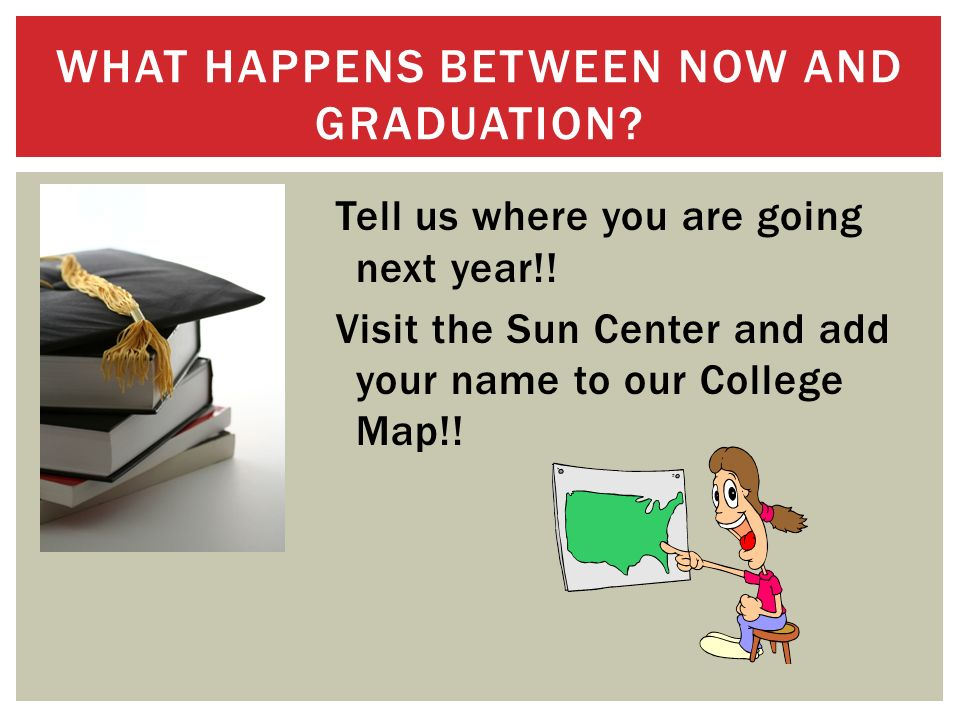 Tell us where you are going next year!. Visit the Sun Center and add your name to our College Map!.