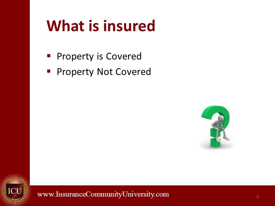 . www.InsuranceCommunityUniversity.com What is insured Property is Covered Property Not Covered 4