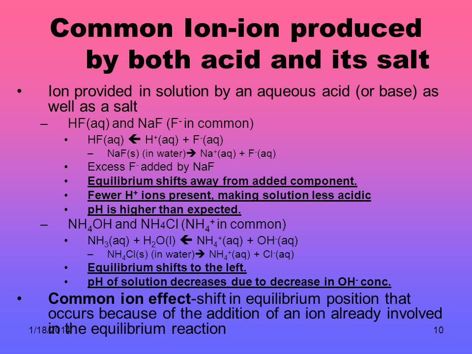 1/18/201410 Common Ion-ion produced by both acid and its salt Ion provided in solution by an aqueous acid (or base) as well as a salt –HF(aq) and NaF (F - in common) HF(aq) H + (aq) + F - (aq) –NaF(s) (in water) Na + (aq) + F - (aq) Excess F - added by NaF Equilibrium shifts away from added component.